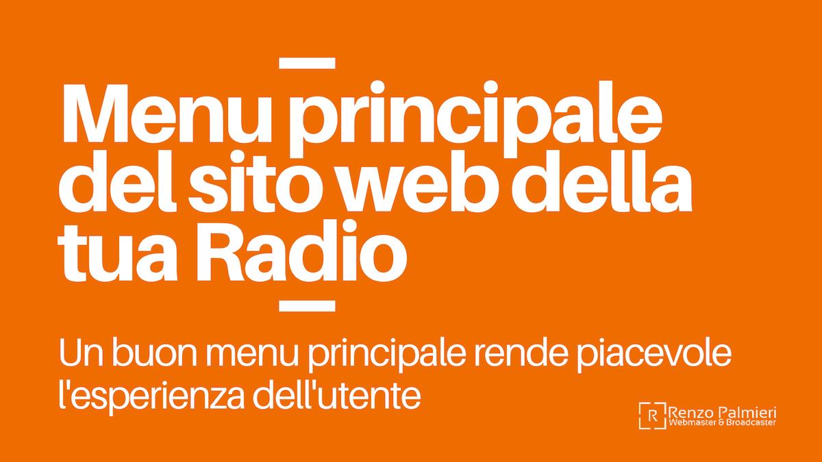 Menu principale del sito web della tua Radio